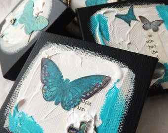 Butterflies, Turquoise and Black Mini Art Canvases