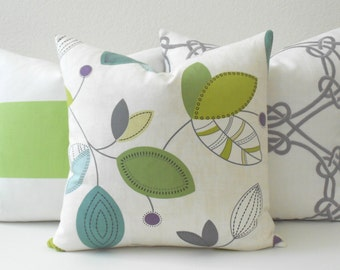 Multi-color green, gray, teal and purple modern leaf decorative pillow cover