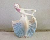 1950's Hull Pottery Woman Dancing - Planter or Vase - Mid Century Art Pottery - Retro Boudoir Decor - Gift for Her
