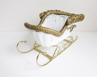 Vintage Small White Wicker Sleigh with Gold Trim - for Candy Canes, Pinecones, Flowers - Table Centerpiece - Christmas Decoration