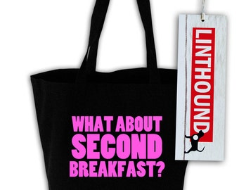 What About Second Breakfast? Black Canvas Grocery Tote Bag