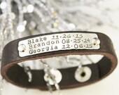 Leather Bracelet- Sterling Silver ID Bracelet- Hand Stamped Leather Bracelet- Personalized Bracelet- Medical Bracelet