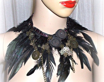 handmade  feathers  collar, gipsy,bohemien,witch,vampire style