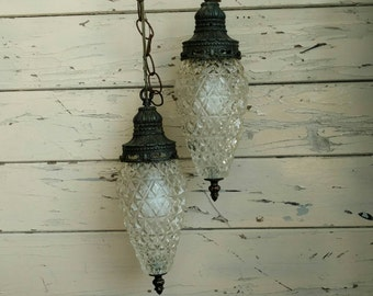 Mid Century Glass Hanging Ceiling Fixture - Regency Honeycomb Glass Double Globe Lights, Foyer Lighting, Vintage Hanging 1960's Art Lamp Set