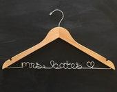 Wedding Hanger, Wire Name Personalized Hanger, Gift for the Bride, Coat Hanger for Bride, Mrs Hanger, Last Name Hanger, Wood Hanger