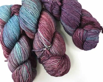 Malabrigo Rios yarn, color Lotus, rainbow shades, #120, superwash knitting yarn