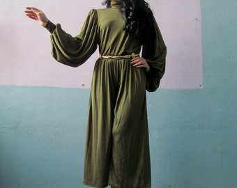 Vtg 70s Jumpsuit / Wide Leg / Olive / Disco Doll