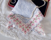 Something Blue Wedding Handkerchief Gift for a Bride Vintage Hanky from the 1950's with Red Roses