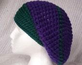 Purple Slouch hat Crocheted Puff Beannie Wool Toque cap Knit cloche CT0016