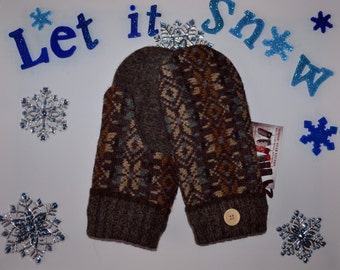 HANDMADE recycled wool sweater MITTENS, Fleece Lined,  Patchwork,  Fair Isle
