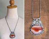 20% CNY SALE - Vintage 70's Hippie Indian Elephant Oval Stone Long Silver Necklace