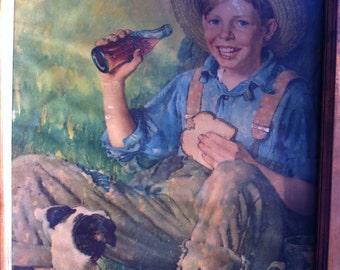 """Rockwell 1931 Calendar Framed Print """"Barefoot Boy"""",Copper Frame, Galvanized Backing"""
