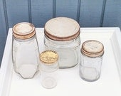 Antique Glass Jars - Set of 4 Canisters - Hazel Atlas Jars