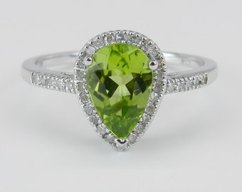 Peridot and Diamond Pear Halo Engagement Promise Ring White Gold Size 7 August Gem Birthstone