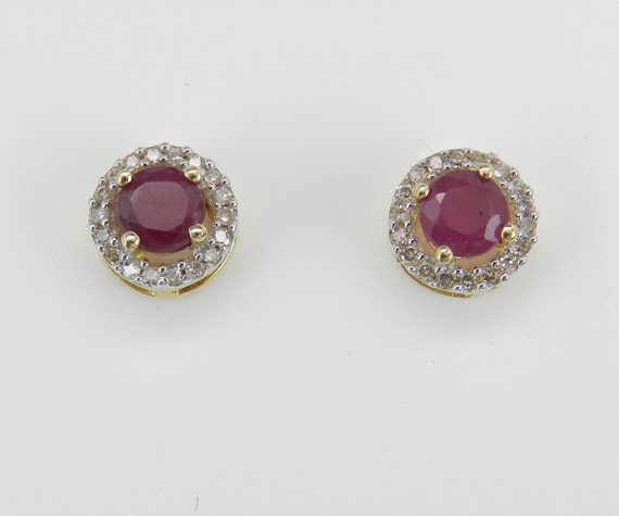 Ruby and Diamond Stud Earrings Halo Studs Earring Yellow Gold July Birthstone