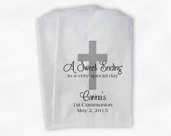 First Communion Favor Bags - Baptism or Religious Party Custom Favor Bags - Set of 25 Black and Gray Paper Treat Bags (0073)