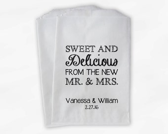 Sweet, Delicious New Mr & Mrs Candy Buffet Bags - Personalized Wedding Favor Bags - Black and White Paper Treat Bags (0179)