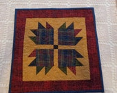Bear's Paw little Quilt, plaids and neutral quilt,  decorator quilt 0210-02