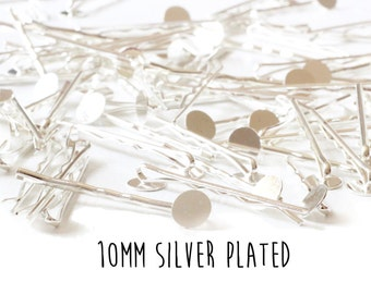 500 pieces - Silver Plated - Bobby Pins - 10mm - 2 inch length - Round Pad
