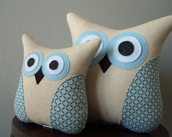 Blue Owl Pillow - Gray Blue Geometric - Boy Nursery Decor - Gray Blue Pillow - Large or Small