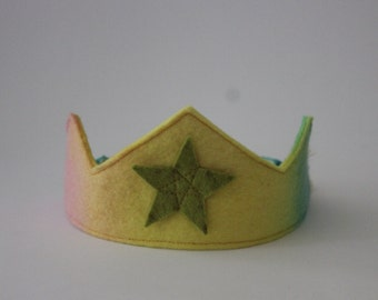 Crown, Hand Dyed Rainbow Wool Felt Crown with Moss Green Star, Waldorf Birthday Crown
