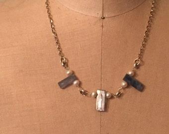 Necklace - Kyanite Gemstones - Pearls - Sterling Silver - Rocker Urban Chic - Shabby Chic Sundance Style
