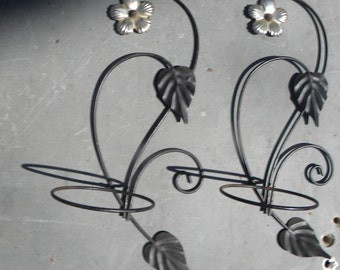 pr vintage 1950s wall hanging mid century WIRE FLOWER POT holders