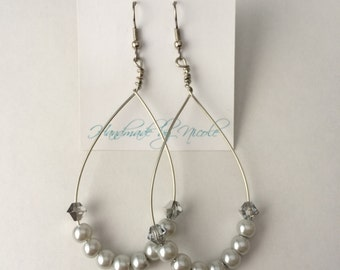 Grey Pearl Hoop Dangle Earrings