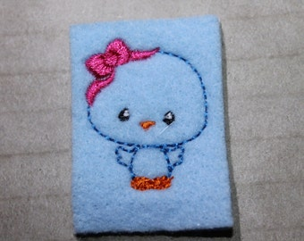 Blue bird with bow feltie, Cute blue bired feltie on lt. blue felt w/hot pink bow, 4 pieces for hair accessories, scrap booking or crafts