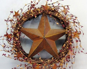 WREATH SALE Condo Door Wreath - Primitive Wreath - Burgundy & Mustard Berry Rusty Star Wreath - Rustic Door Decor - Primitive Berry Wreath -