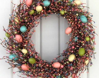 SALE - READY To SHIP - Spring Wreath - Large Easter Wreath - Easter - Easter Egg Wreath - Fireplace Wreath - Foyer Wreaths - Large Wreath