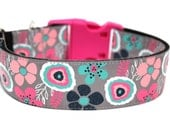 "Flower Dog Collar 1.5"" Floral Dog Collar SIZE LARGE"