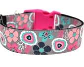 "Flower Dog Collar 1.5"" Floral Dog Collar SIZE MEDIUM"