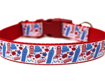 "London Dog Collar 1"" Red Dog Collar SIZE SMALL"