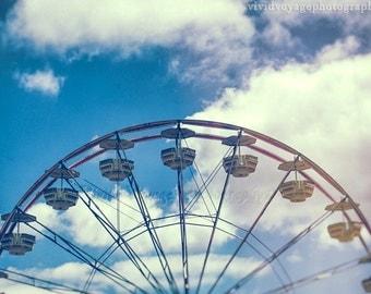 Ferris Wheel Photography, Carnival Ride Photo, Fair Photograph, Retro Home Decor, Summer Time Art, Childrens Room Decor, Ferris Wheel Art
