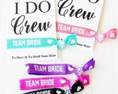 Team Bride, I Do Crew Hair Tie & Card, Wedding Party Favor, Bridal Shower, Bachelorette Party, Wedding Day Survival Kit, Hangover kit bag