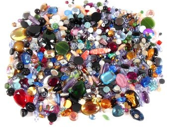 Vintage Stones, Czech Glass, German, Swarovski Stones, Seed Beads, Polymer Clay Projects, Jewelry Making, B'sue, About 1/4 Pound, Item08097