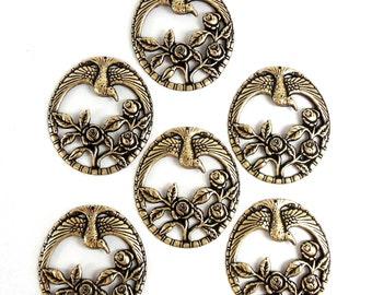 Brass Birds, Bird Pendants, Rose Pendants, Vintage Supplies, Brass Ox, Antique Brass, 47 x 41mm, US Made, B'sue Boutiques, Item07173