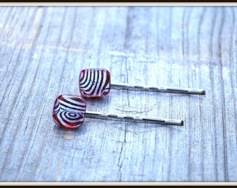 Dichroic Glass Hair Pins, Fused Glass Bobby Pins, Fused Glass Hair Pins, Bobby Pins, Red Glass Hair Pins, Red Glass Bobbie, Hair Accessories