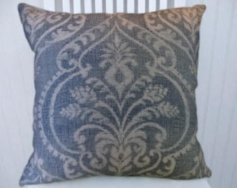 Light Blue Floral Cotton Decorative Throw Pillow- 18x18 or 20x20 or 22x22- Pillow Cover- Accent Pillow.