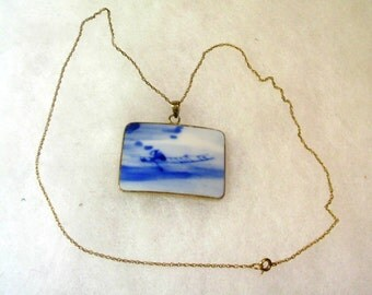 Vintage Hand Crafted Blue Porcelain Pendant on Gold Tone Chain - No. 1642