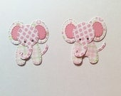 """2 Cute Patchwork Elephants, Baby Girl, Pinks, 2 """" Tall, 1 3/4"""" Wide, Sizzix, Handmade, Cardstock"""