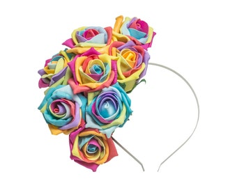 Rainbow Rose Floral Fascinator