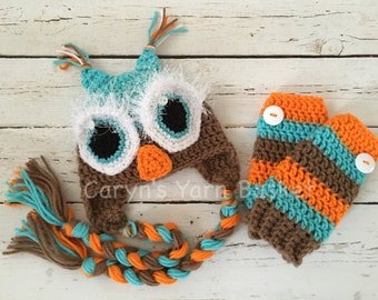 READY TO SHIP Sleepy Owl Hat w/braids & Leg Warmers, Costume, Baby Shower Gift, Photography Prop - 0-3 Month Size