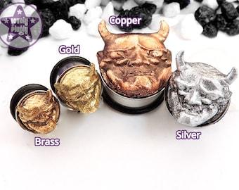"""Japanese Hannya Custom Plug / Gauge Demon Mask 3D Gold Silver Brass Copper Rose Gold 3/4"""" / 19mm, 20mm"""