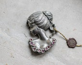French Pewter Figure // Romantic Kitsch Valentines's Gift