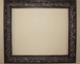 Hand Antiqued, Large Vintage Picture Frame, Gold and Copper Accents
