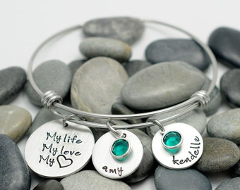 Expandable Wire Bangle - My Love My Life My Heart - Hand Stamped Jewelry - Personalized Bracelet - Mommy Bracelet - Charm Bracelet