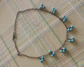 Vintage Brass Turquoise Bead Clusters Necklace
