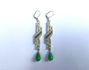 Deco Zig Zag Earrings with Jade
